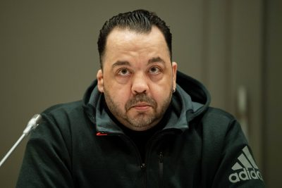 OLDENBURG, GERMANY - NOVEMBER 22:  Niels Högel, the nurse already serving a lifetime sentence for two murders, sits in the courtroom during the third day of his latest trial, this time accused of 99 further murders, at the Weser-Ems-Halle on November 22, 2018 in Oldenburg, Germany. Högel served as a nurse at hospitals in Delmenhorst and Oldenburg between 1999 and 2005 where he was convicted in 2016 of having killed two patients and attempted to kill two more by administering them deadly doses of substances. Since then investigators have exhumed hundreds of bodies and in this latest trial the court is charging him with having killed 99 more patients. Högel previously admitted that his motive was to administer drugs to induce heart failure, then to intervene to reanimate the patients and be seen as a hero. Should he be convicted he will become Germany's most notorious serial murderer in post-World War II history. (Photo by Mohssen Assanimoghaddam - Pool/Getty Images)